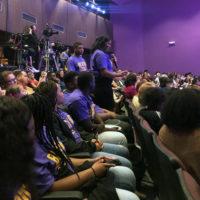 Keturah Davis asks Elizabeth Warren a question at a criminal justice forum at Benedict College on October 27, 2019.
